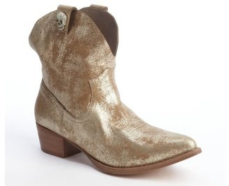 Zadig & Voltaire gold gilded leather 'Payne' skull detail ankle boots