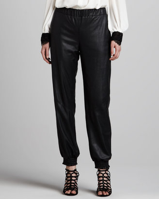 Alice + Olivia Leather Sweatpants