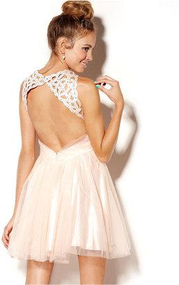 B. Darlin Juniors Dress, Sleeveless Tulle Cutout