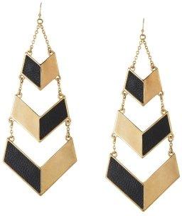BCBGMAXAZRIA Leather-Inset Earrings