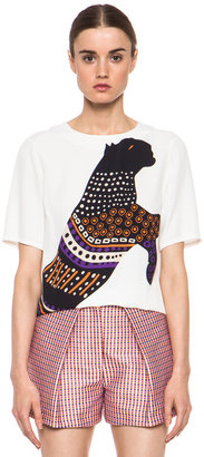 MSGM Silk Panther Tee in White & Violet