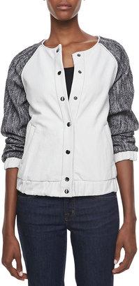 Laveer Tweed-Sleeve Bomber Jacket