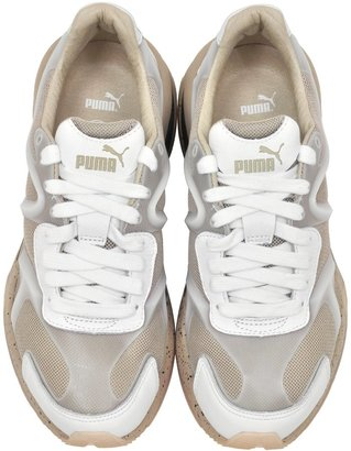 McQ by Alexander McQueen x Puma White Leather And Mesh Run Lo Sneakers