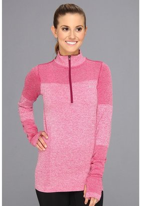 Nike Dri-Fit Knit Long-Sleeve Half-Zip Pullover (Raspberry Red/Heather/Reflective Silver) - Apparel