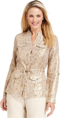 Charter Club Long-Sleeve Animal-Print Drawstring Linen Blazer