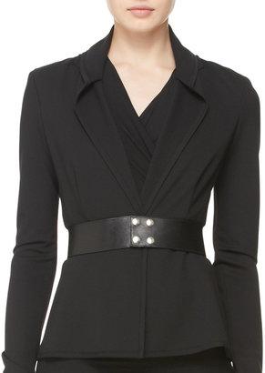 Donna Karan Wide Leather Snap Belt
