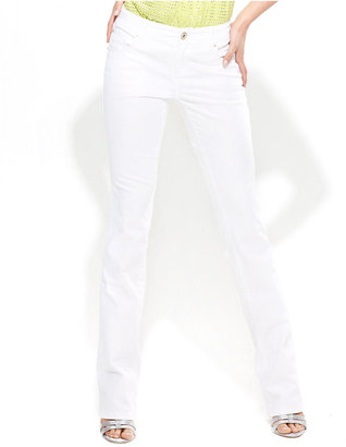 INC International Concepts Petite Jeans, Slim Bootcut, White Wash