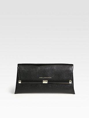 Diane von Furstenberg Lizard-Embossed Leather Clutch