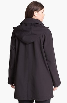 Gallery Soft Shell Swing Coat with Detachable Hood (Plus Size)