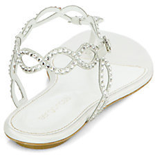 Sergio Rossi Bridal Crystal-Coated Suede Thong Sandals