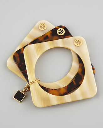 Tory Burch Tomi Resin Stacking Bangles, Horn/Tortoise