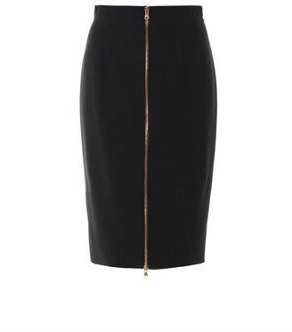 Alexander McQueen Leaf-crepe pencil skirt