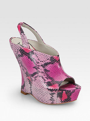 Alice + Olivia Denise Snake-Embossed Leather Wedge Sandals