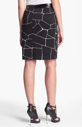 Vince Camuto Faux Patent Leather Trim Print Pencil Skirt