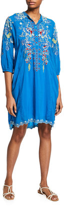 Johnny Was Nola Embroidered Tunic Dress with Slip