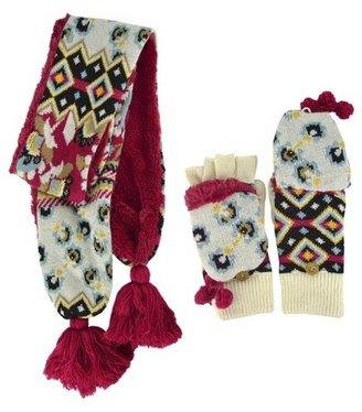 Muk Luks Hat and Flip Top Glove Set - Red 2 Pc
