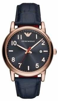 Emporio Armani Luigi Navy Croc Leather Strap Watch