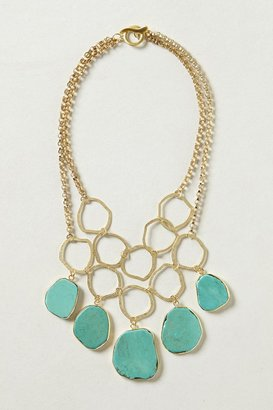Anthropologie Hammered Turquoise Bib Necklace