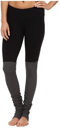 Alo Goddess Ribbed Legging (Black/Stormy Heather) Women's Workout
