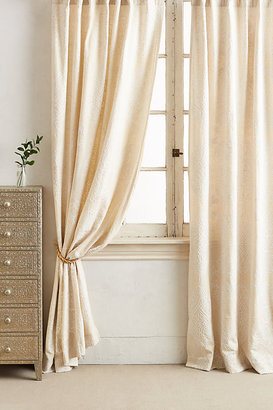 Anthropologie Embroidered Gretta Curtain By in White Size 50X63