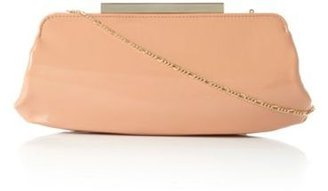 Dune Apricot patent bayley structured patent metal clasp clutch bag