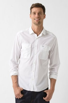 """Lacoste Long Sleeve Slim Fit """"Military"""" Style Washed Poplin"""