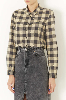 Topshop Check Heart Embroidery Shirt