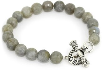 King Baby Studio Men's Labradorite Bead Bracelet with Sterling Silver Toggle