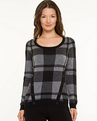 Le Château Wool Blend Check Print Sweater