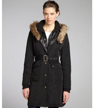 Nicole Miller black faux fur trimmed hooded and belted coat