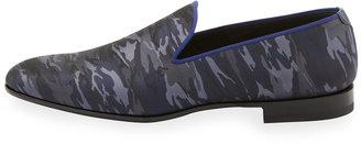Bergdorf Goodman Camo-Print Venetian Loafer, Blue