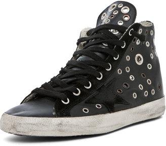 Golden Goose Francy Leather High Top Sneaker in Black Grommet