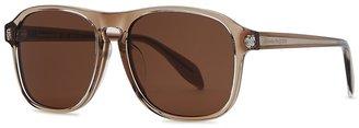 Alexander McQueen Brown D-frame Sunglasses