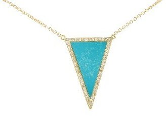 Jennifer Meyer Diamond Turquoise Inlay Triangle Necklace - Yellow Gold