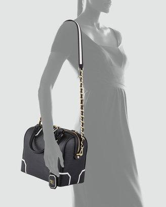 Alice + Olivia Olivia Lizard-Embossed Bag, Black/White