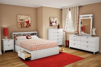 Green Baby South Shore Sparkling Collection Full (54'') Mates Bed - Pure White