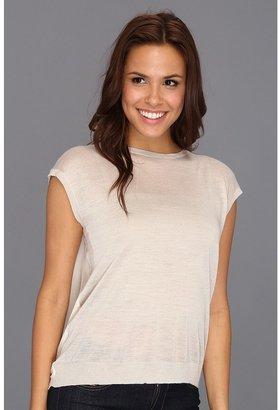 DKNY DKNYC Short Sleeve Pullover w/ Chiffon Back Women's Short Sleeve Pullover