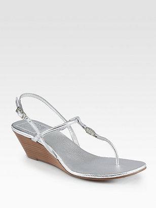 Tory Burch Emmy Metallic Leather Wedge Sandals