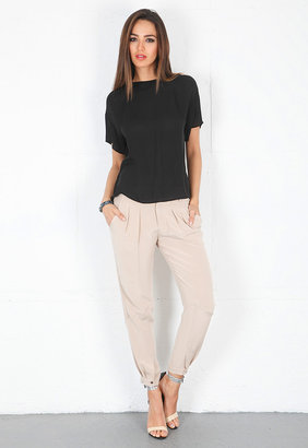 Haute Hippie Pleated Pants with Tabs in Buff