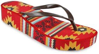 Muk Luks southwestern wedge flip-flops