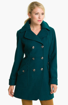 GUESS Double Breasted Wool Blend Coat