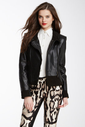 Vince Camuto Leather Funnel Neck Moto Jacket $500 thestylecure.com