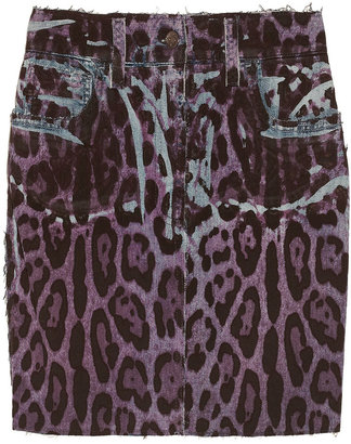 Dolce & Gabbana Leopard-print denim mini skirt