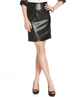 Amy Byer Juniors Skirt, Faux-Leather Ponte-Knit Pencil