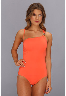MICHAEL Michael Kors Linked Solids One Shoulder Maillot