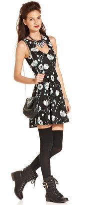 Material Girl Juniors Dress, Sleeveless Floral-Print Cutout Flared