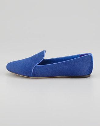 Brian Atwood Claudelle Calf Hair Smoking Slipper, Blue