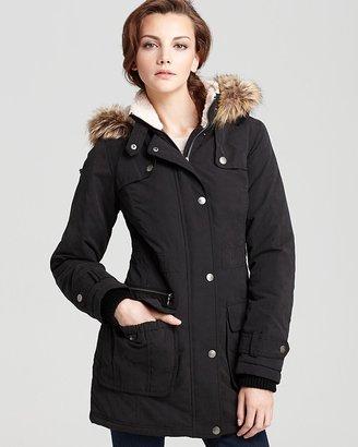 DKNY Anorak with Faux Fur Trim Hood