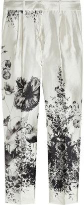 J.Crew Café floral-print wool and silk-blend Capri pants