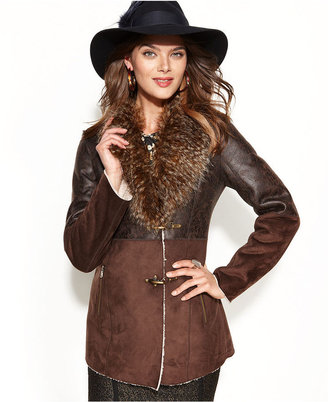 Jessica Simpson Toggle-Front Faux-Shearling Coat